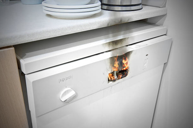 burning dishwasher appliance